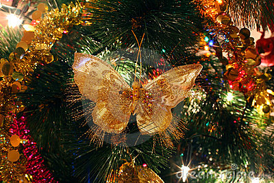Christmas tree ornaments, bright shiny butterfly
