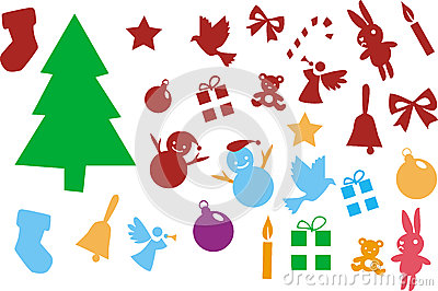 Christmas tree and ornaments elements isolated on