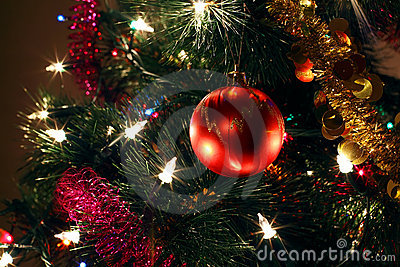 Christmas tree ornaments, red ball, tinsel