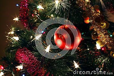 Christmas tree ornaments, red ball, tinsel