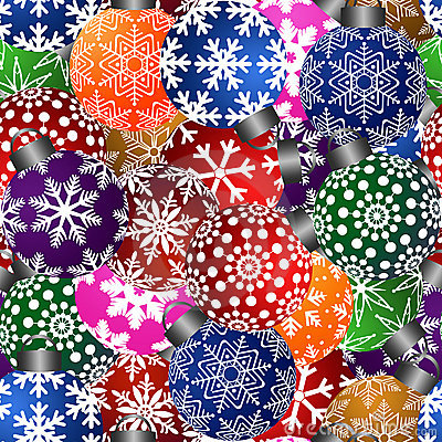 Christmas Tree Ornaments Seamless Tile Background