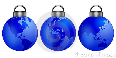 Christmas Tree Ornaments with World Map