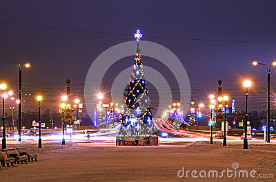 Christmas tree in Petersburg, Russia Editorial Photo