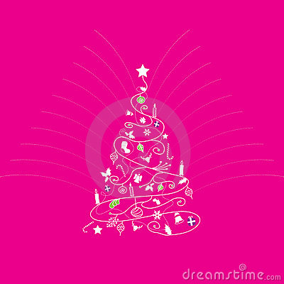 Christmas tree on pink background royalty free stock images image
