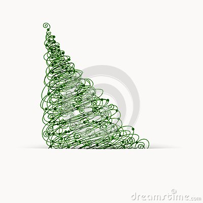 Christmas tree, postcard design with place for
