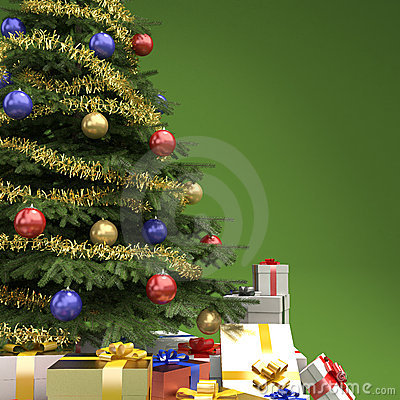 Christmas tree with presents detail