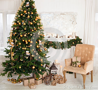 Christmas Tree With Presents In The Living Room Stock Photo Image 63392854
