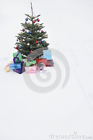 Christmas tree with presents in snow