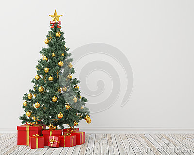 Christmas tree with presents in the vintage room, background Stock Photo