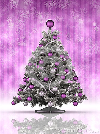 Christmas tree on purple background