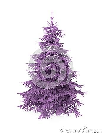 Christmas tree, purple, isolated on white