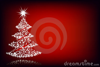Christmas tree-red background