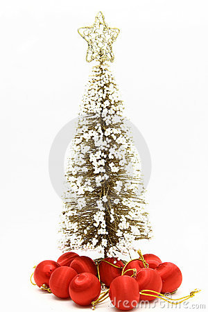 Christmas tree with red ball ornament