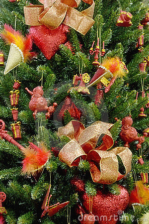 Christmas tree red decorated backgrounds