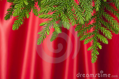 Christmas Tree Red Satin Background