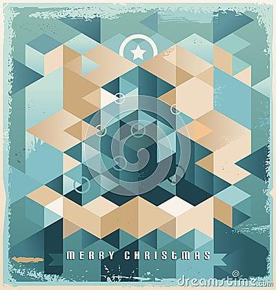 Christmas tree retro background design