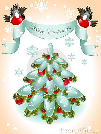 Christmas tree with ribbon