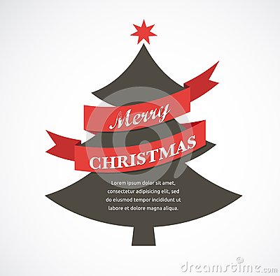 Christmas tree with ribbon and text