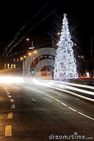 Christmas tree on a road