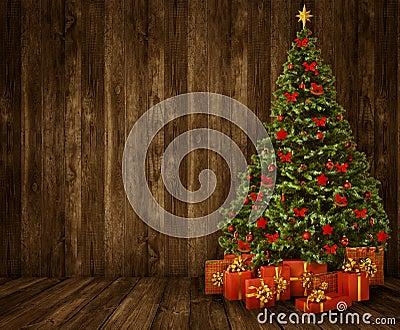 Christmas Tree Room Background Wood Wall Floor Wooden