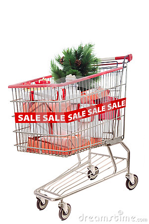 Christmas tree on sale in shopping cart isolated