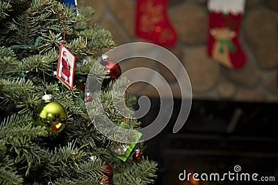 Christmas Tree with Santa Card and stockings