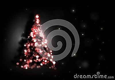 Christmas tree shining on black