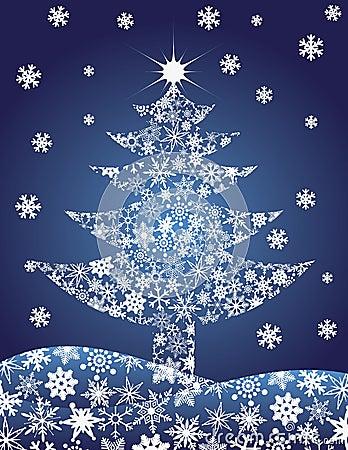 Christmas Tree Silhouette Snowflakes Illustration
