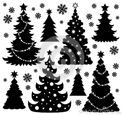 Free Christmas Tree Silhouette Theme 1 Stock Image - 34801371