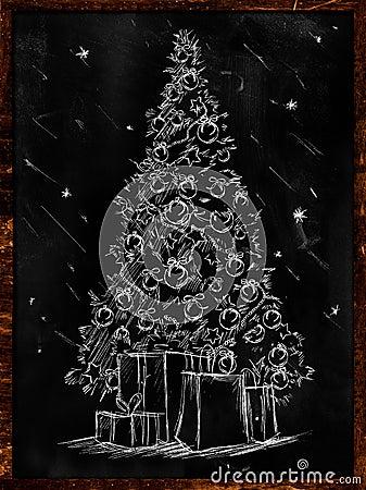 Christmas Tree Sketch on Blackboard