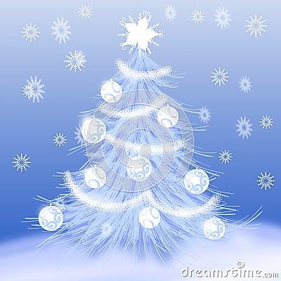 Christmas tree & snow