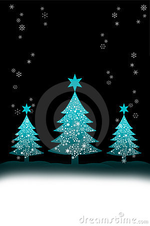 Christmas tree with snow background