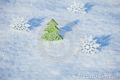 Christmas tree on snow