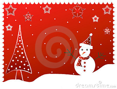 Christmas tree and snow man -