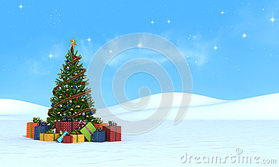 Christmas tree  on snow - rendering