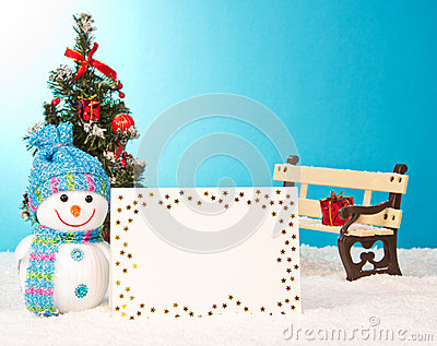 Christmas tree with snowman and postcard
