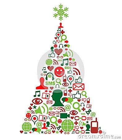 Christmas tree with social media icons