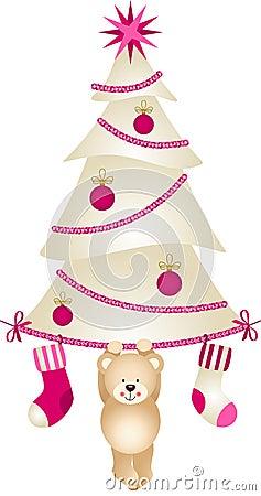 Christmas Tree with Socks and Teddy Bear