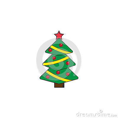Christmas tree solid icon, decorations with star Vector Illustration