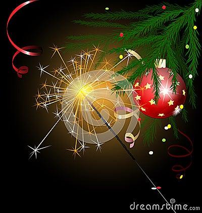 Christmas tree and sparkler