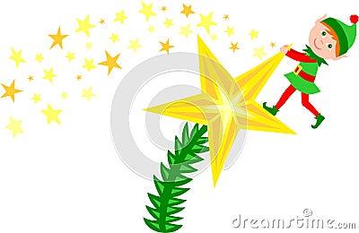 Christmas Tree Star Elf/eps