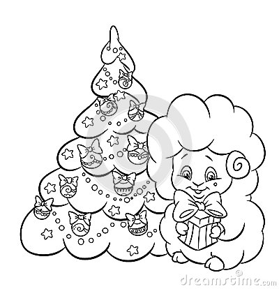 Christmas tree star garland  lamb coloring page