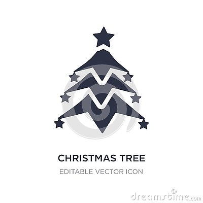 christmas tree with star icon on white background. Simple element illustration from Shapes concept Vector Illustration