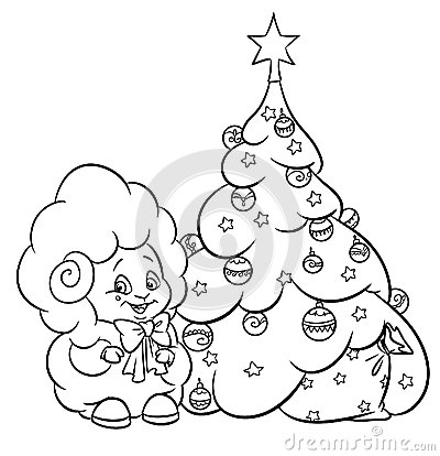 Christmas tree star ornaments lamb coloring page