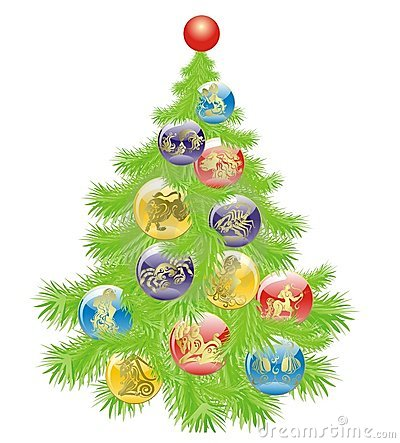 Christmas tree with Star Signs set