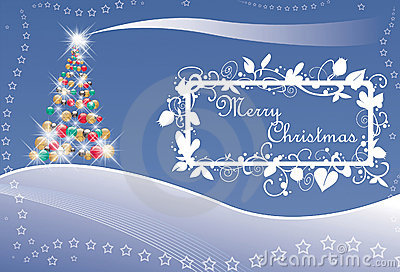 Christmas tree and stars with text