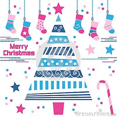 Christmas Tree with Stockings
