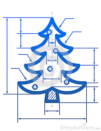 Christmas tree symbol with dimension lines