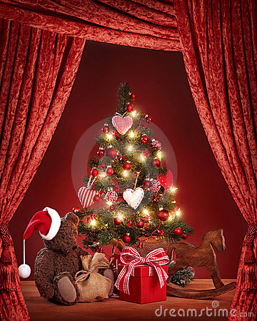 Christmas tree with teddy bear