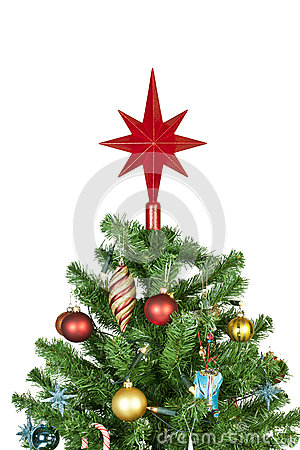 Christmas tree top with ornaments